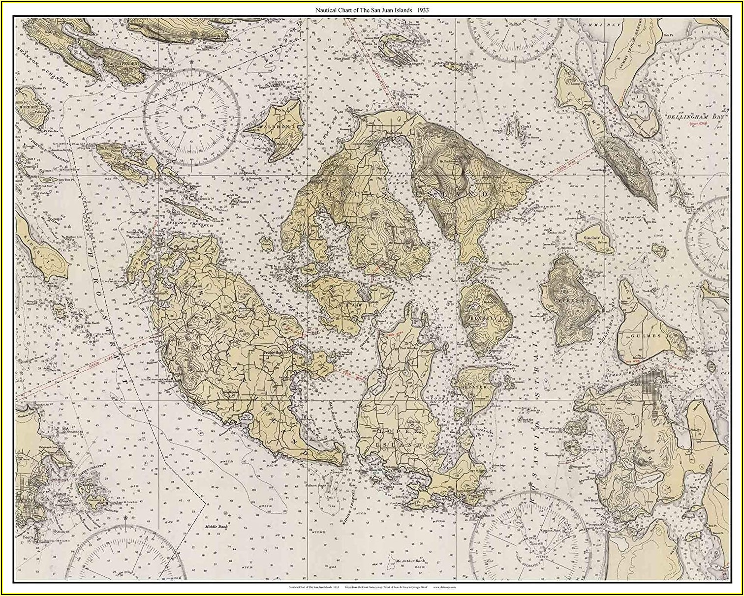 San Juan Islands Nautical Map