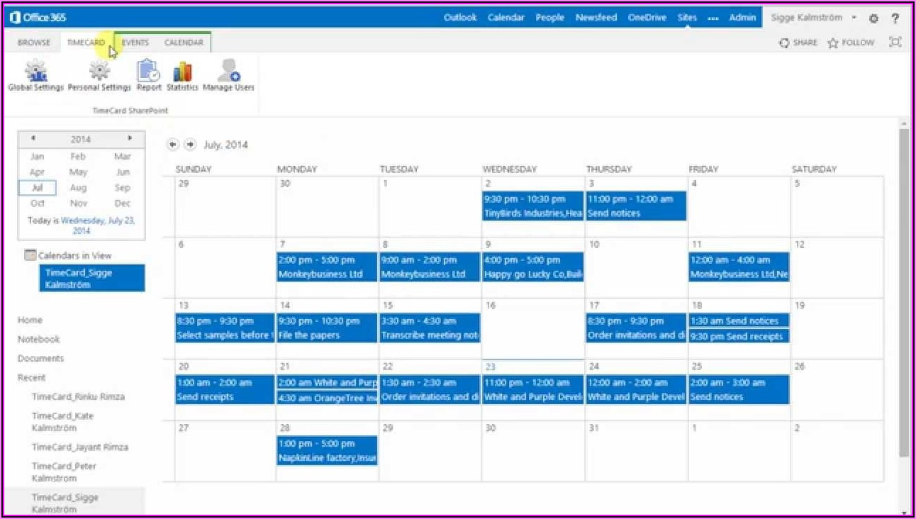 Sharepoint 2013 Time Tracking Template