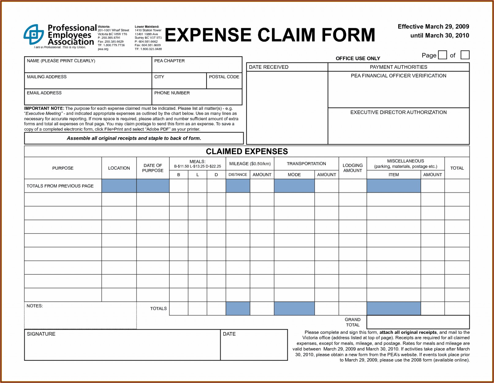Simple Expense Report Form Excel