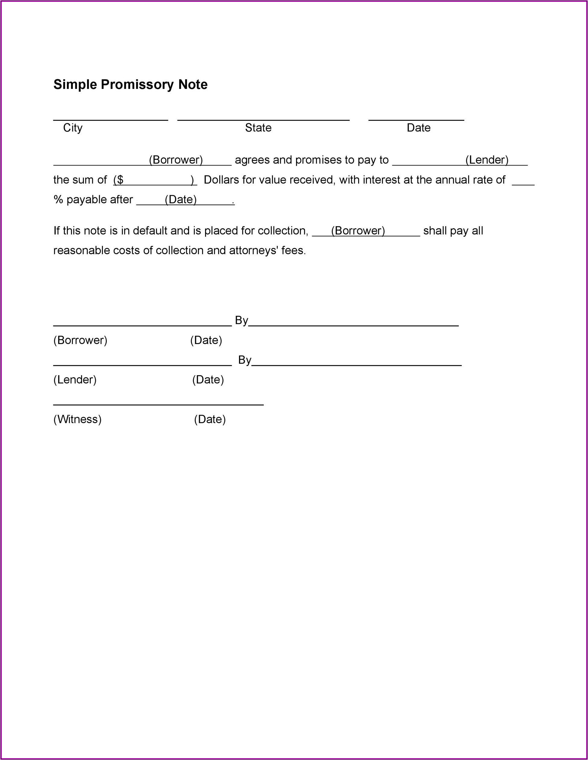 Simple Promissory Note Template California