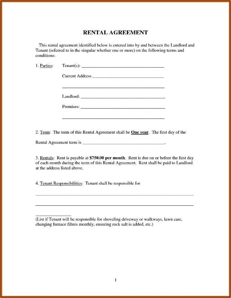 Simple Rental Agreement Form Free