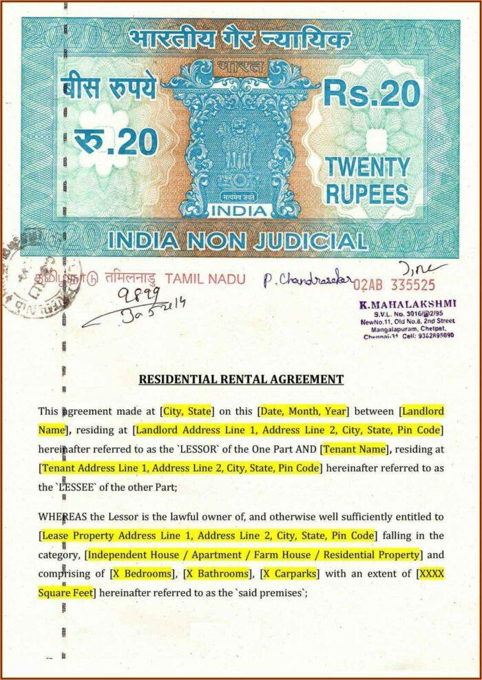 Simple Rental Agreement Format In Tamil