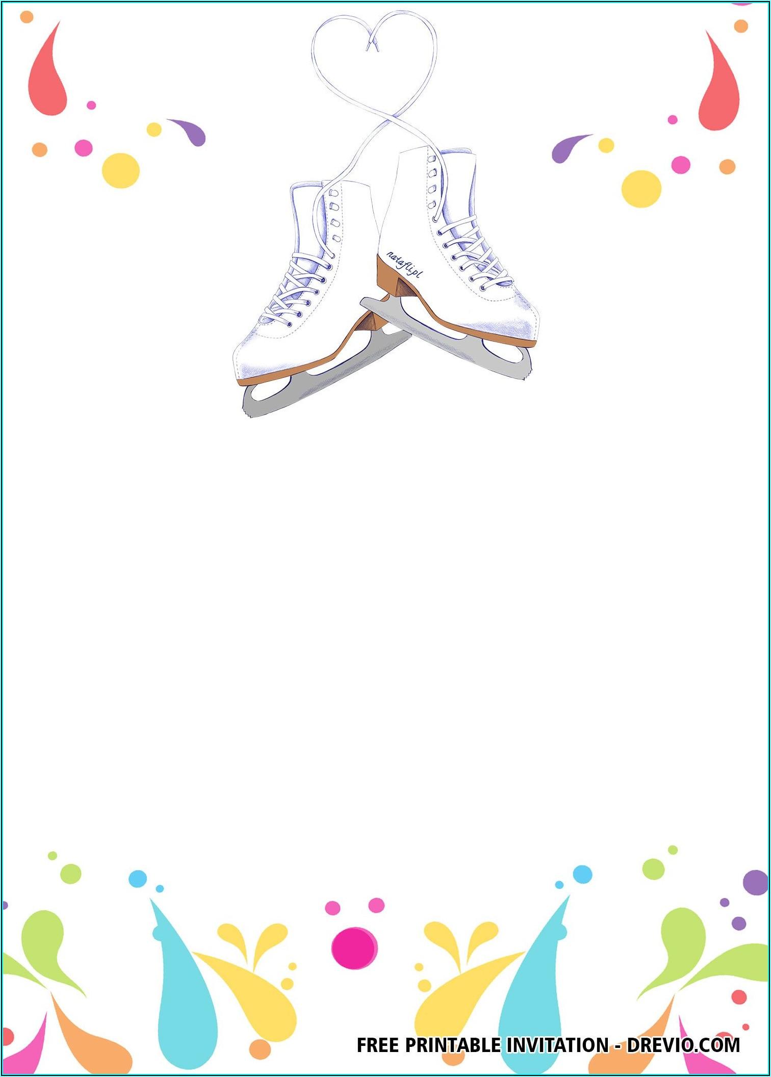 Skating Birthday Invitations Templates Free
