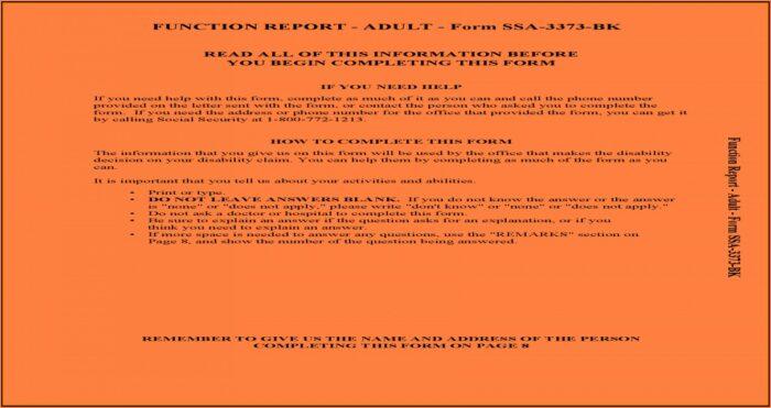 Social Security Form 3373 Bk