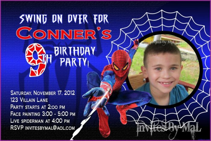 Spiderman Birthday Invitation Template Free Download