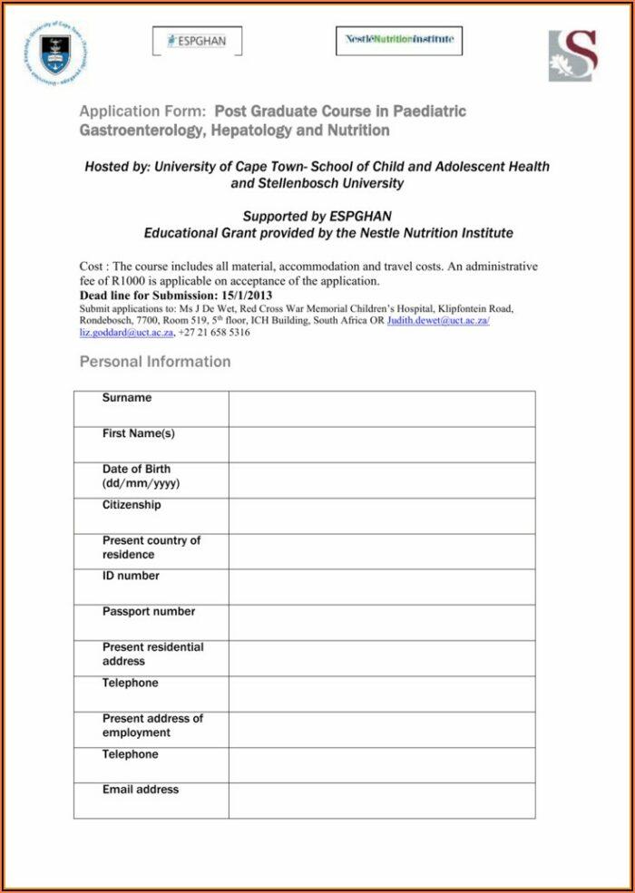 Stellenbosch University Application Forms Postgraduate