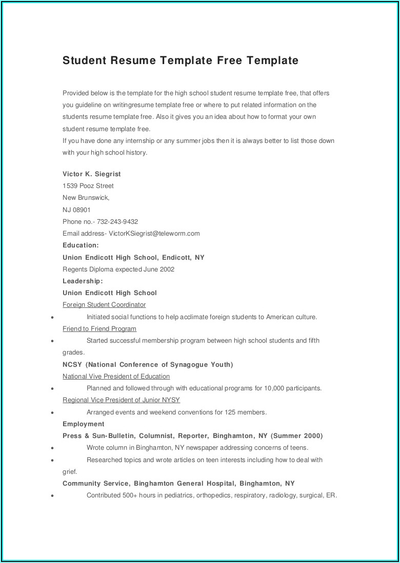 Student Resume Template Free