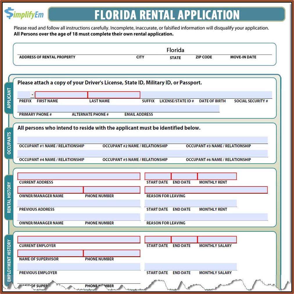 Tenant Rental Application Form Florida