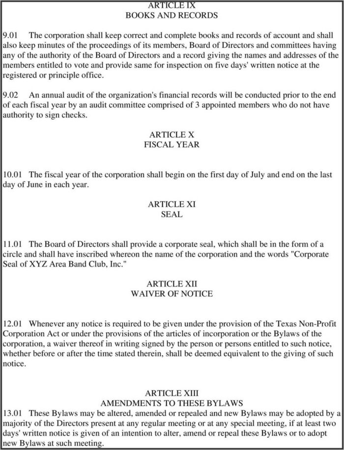 Texas Nonprofit Bylaws Template