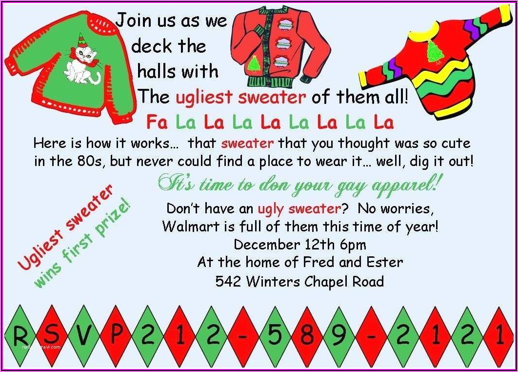 Ugly Sweater Party Invitation Template Free