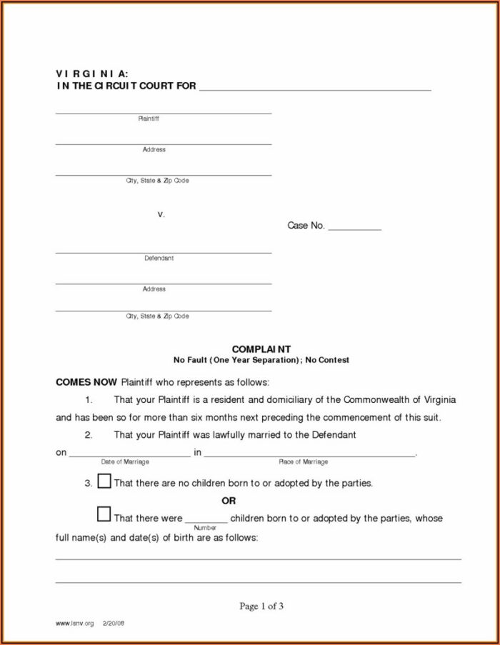Uncontested Divorce Forms In Va