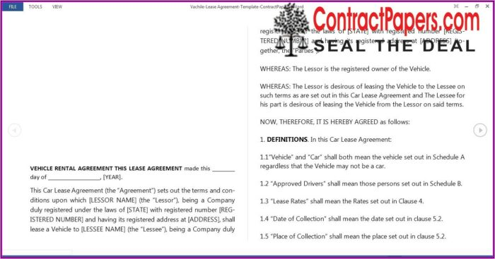 Vehicle Lease Contract Template