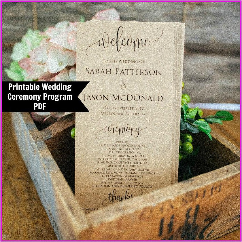 Wedding Ceremony And Reception Program Templates