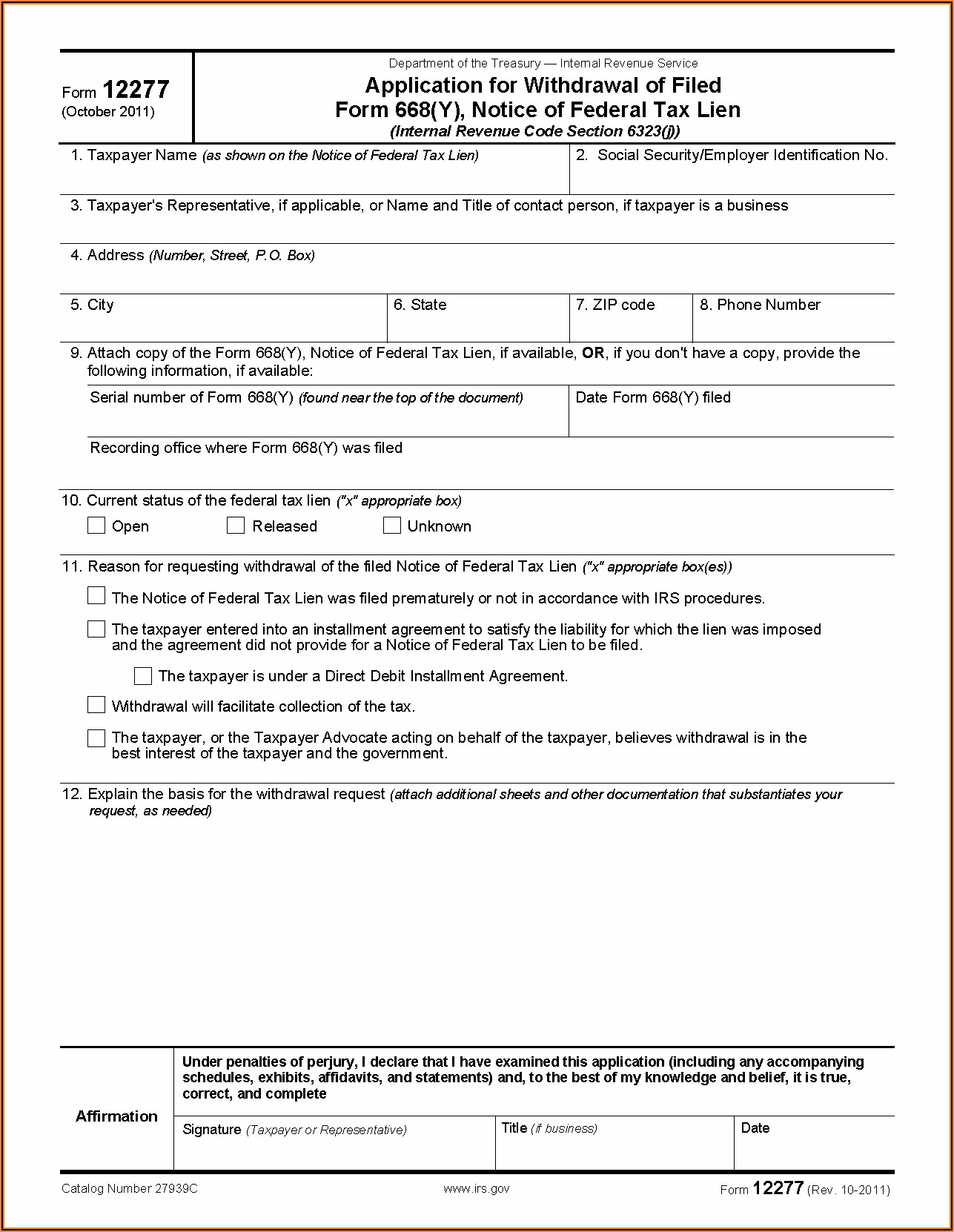 What Is Irs Form 668 Y C