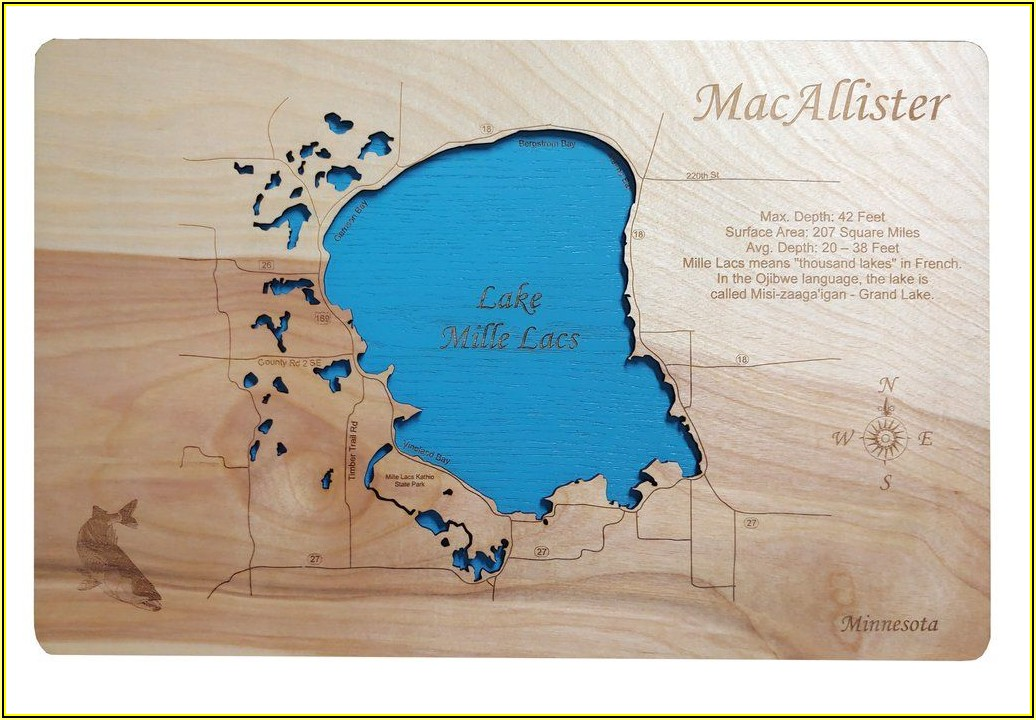 Wood Carved Lake Maps Mn