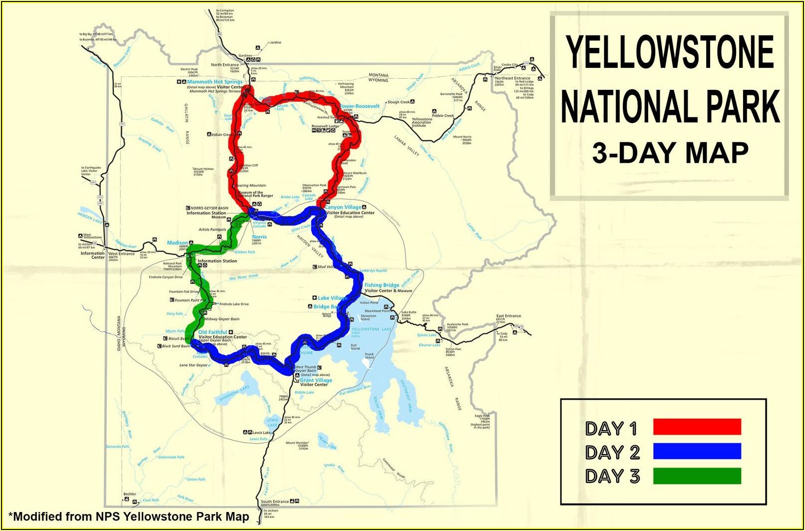 Yellowstone Park Accommodation Map