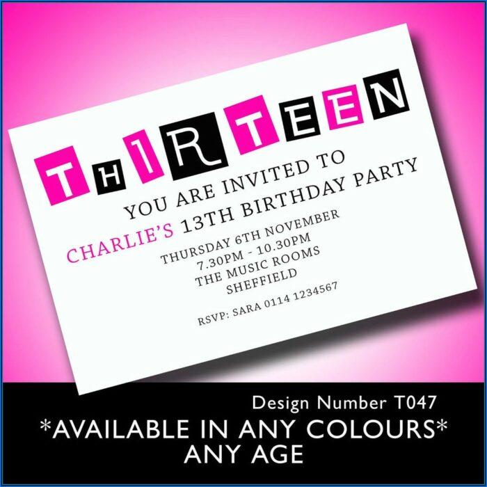 13th Birthday Party Invitation Templates