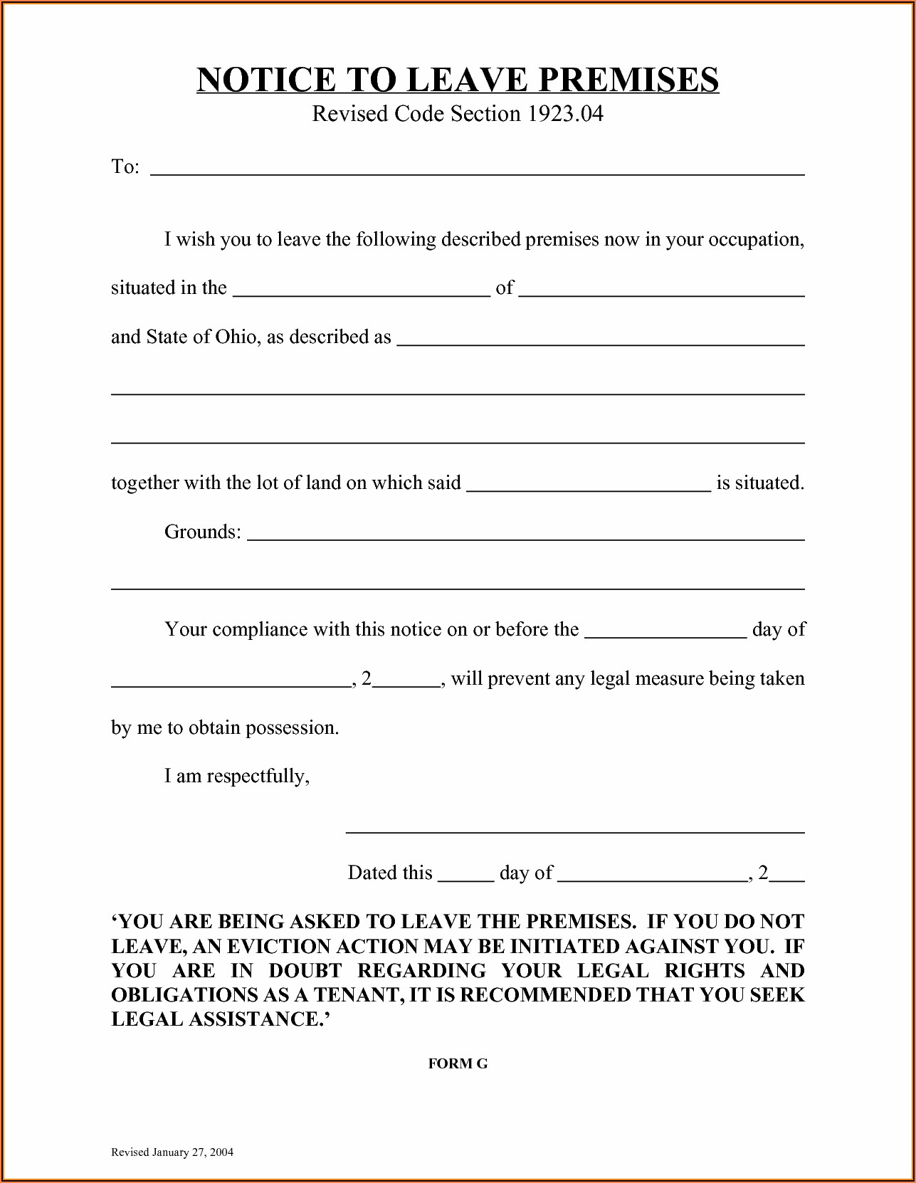 3 Day Eviction Notice Ohio Form Free
