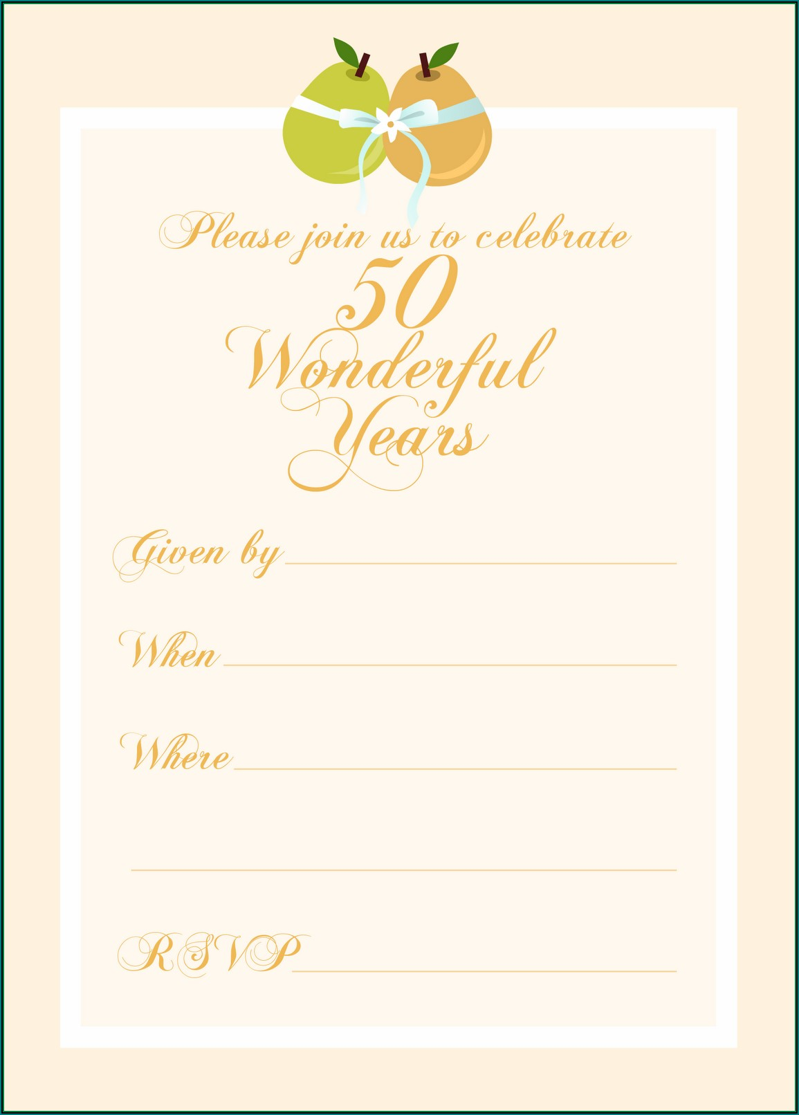50th Anniversary Printable Invitations
