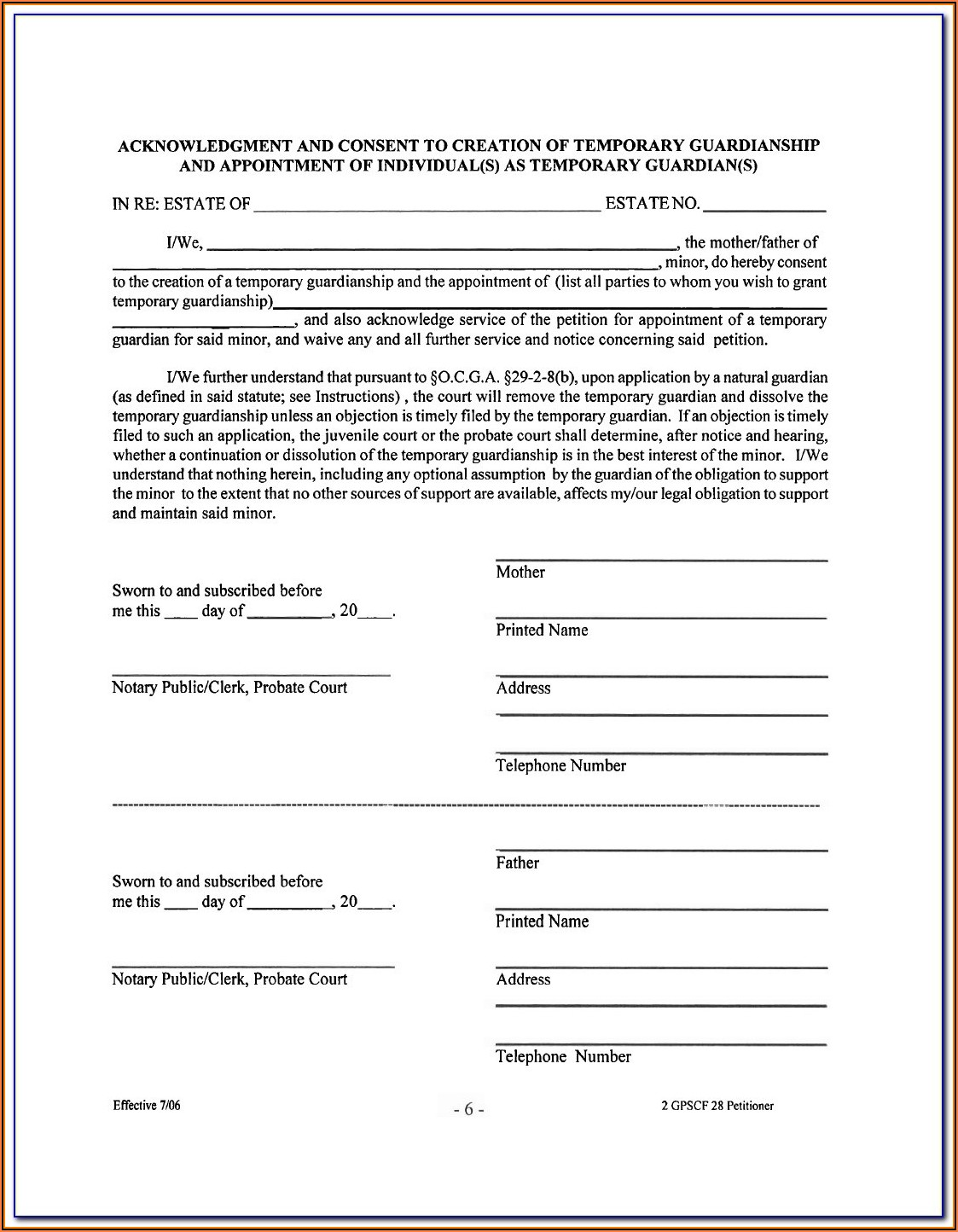 Affidavit Of Guardianship Form