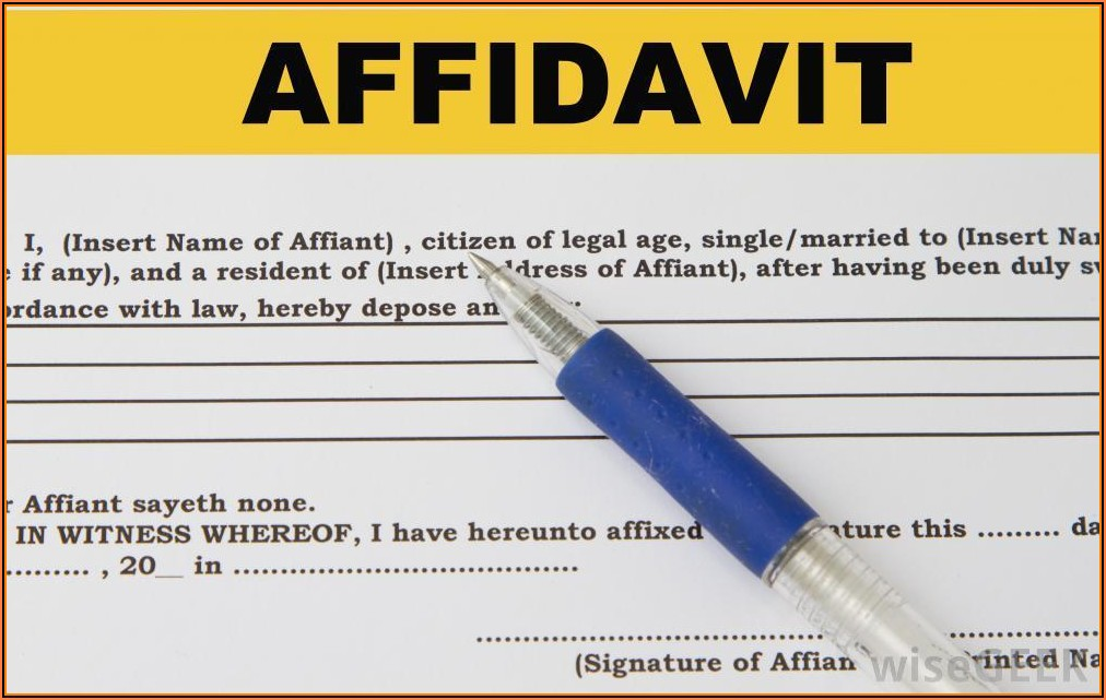 Affidavit Of Guardianship Format