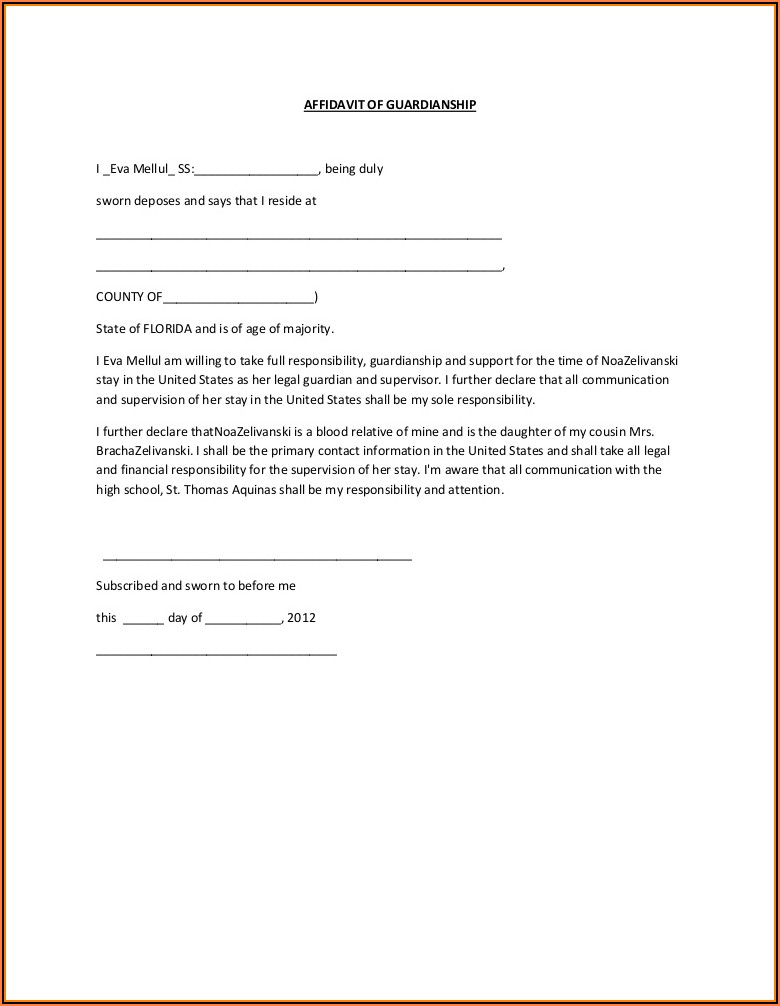 Affidavit Of Guardianship Sample Form