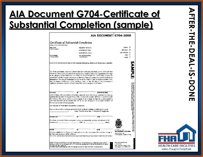 Aia G704 Substantial Completion Form