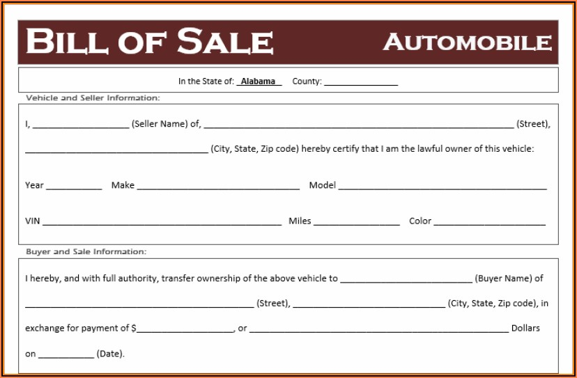 Alabama Auto Bill Of Sale Form Free