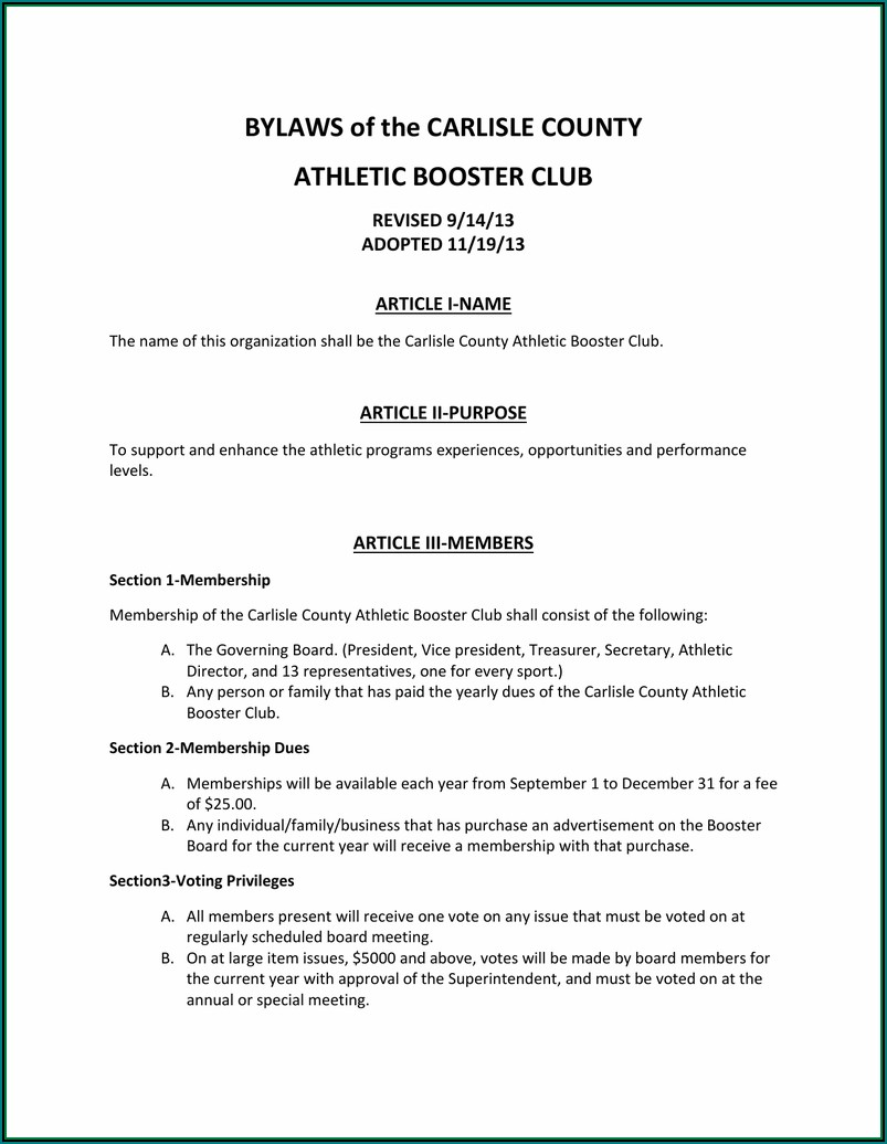 Athletic Booster Club Bylaws Template