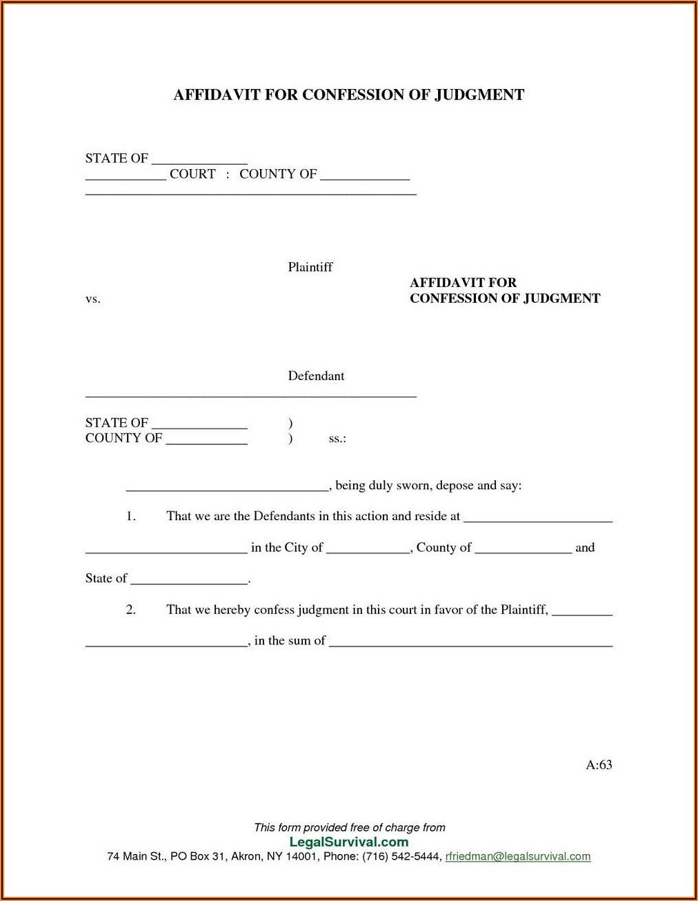 Blank Affidavit Form Zimbabwe