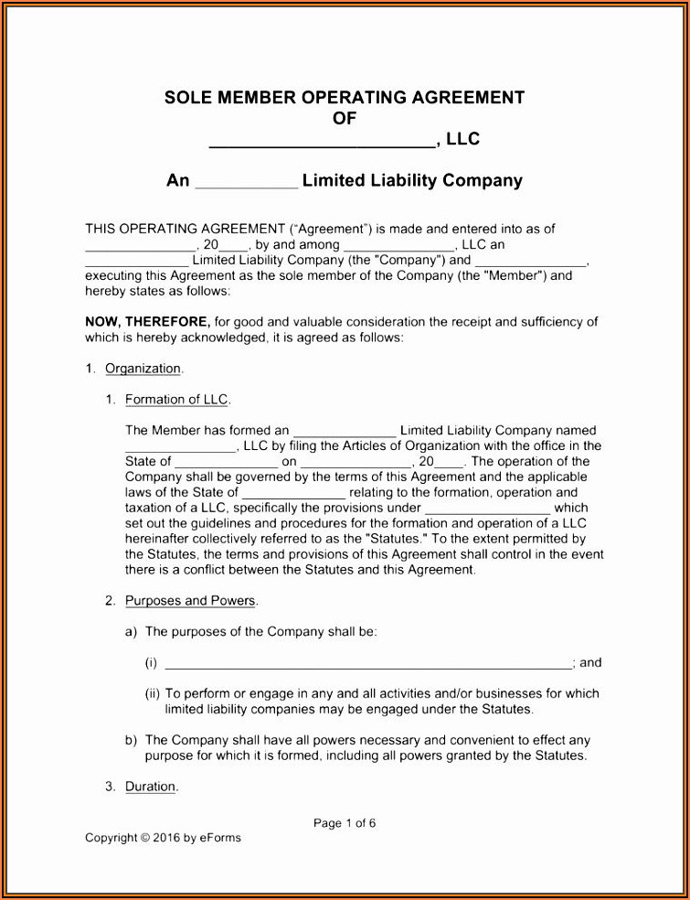 Blank Operating Agreement Form