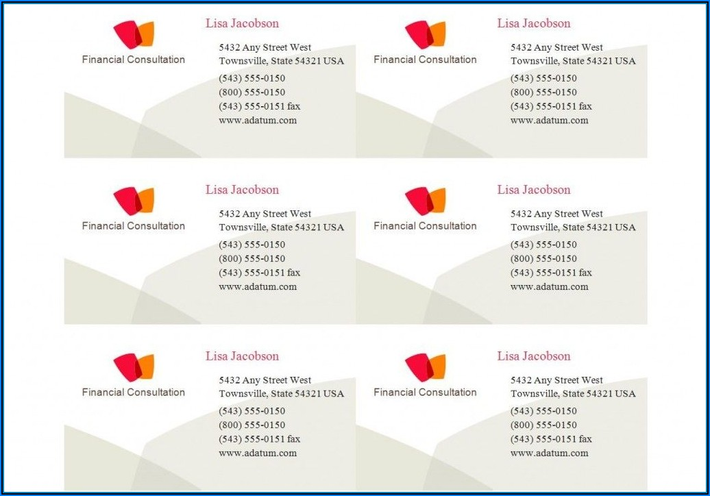Business Card Template Avery 8371