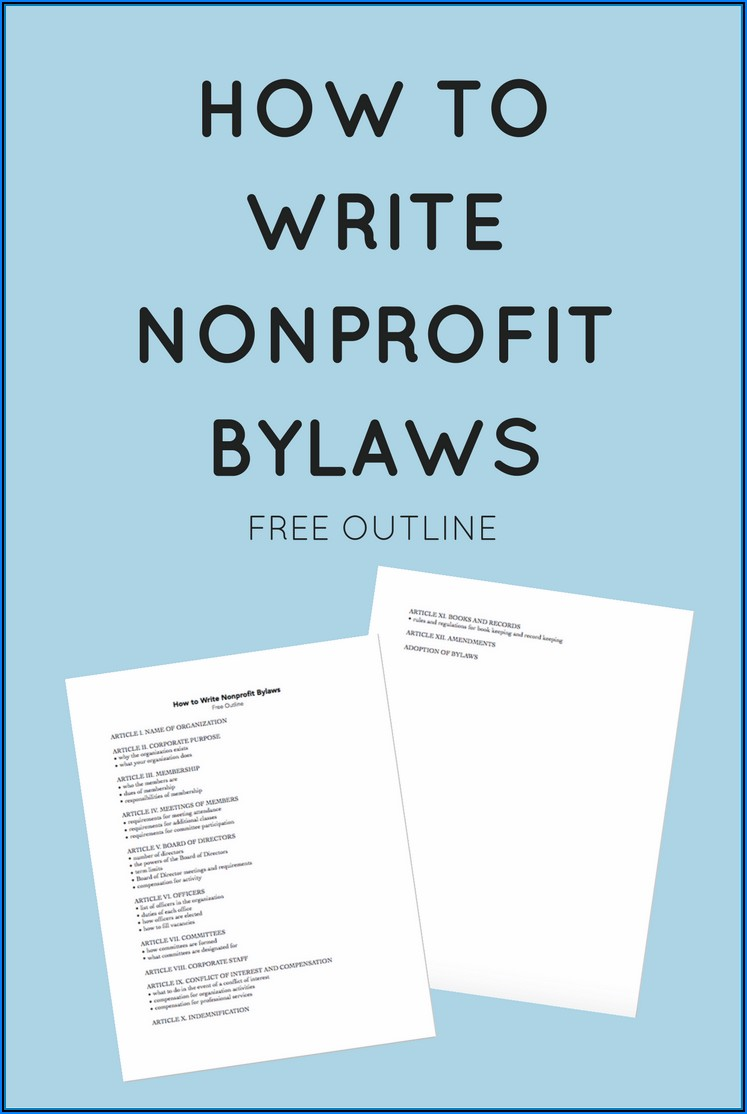 Bylaws For Nonprofit Organizations Template