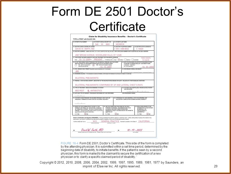California State Disability Insurance Claim Form De 2501