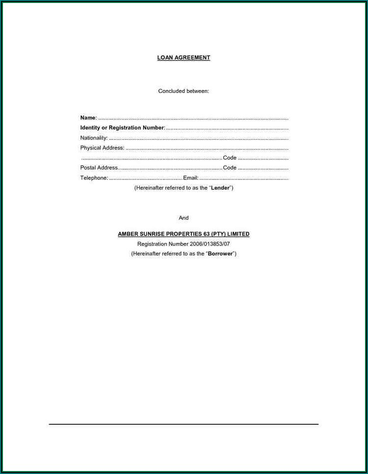 Car Loan Agreement Template Free