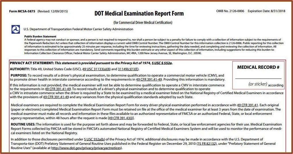 Ct Dot Medical Forms