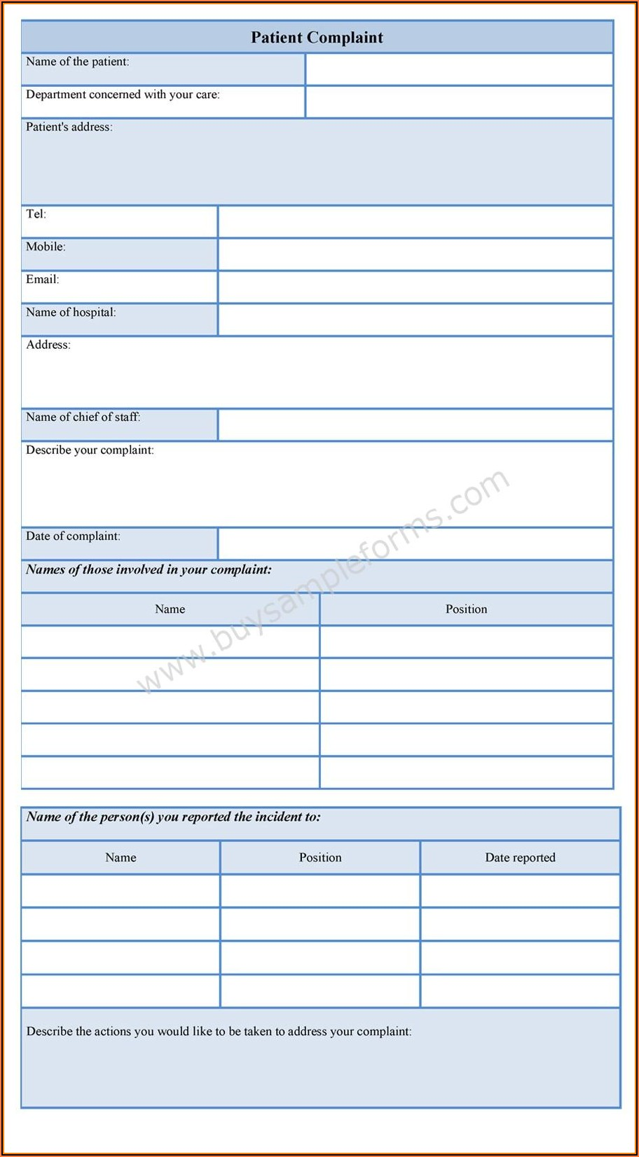 Dental Patient Complaint Form Template
