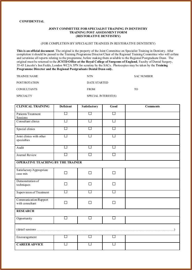 Dental Patient Feedback Form Template