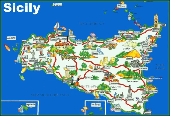 Detailed Road Map Of Sicily
