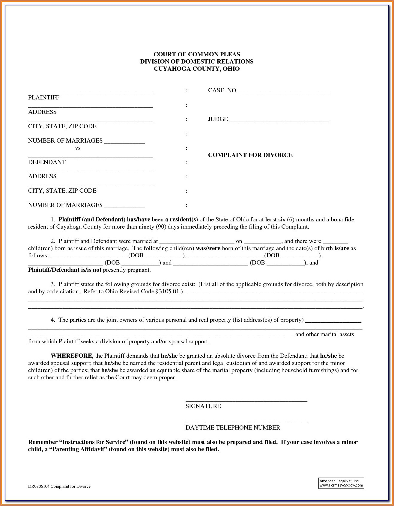 Divorce Forms Ohio