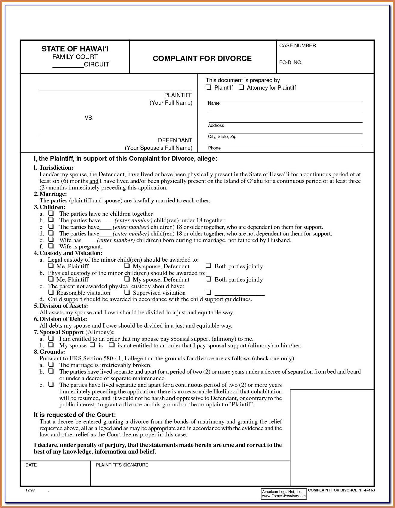 Divorce Forms Online Nj