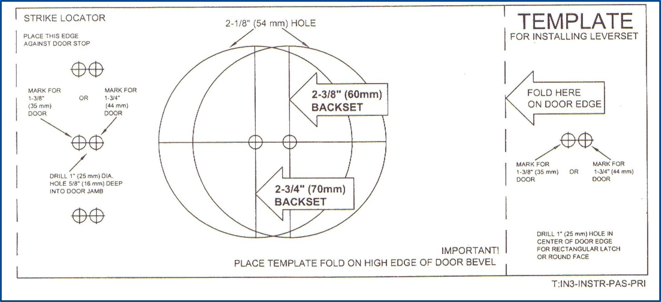 Drill Door Knob Hole Template