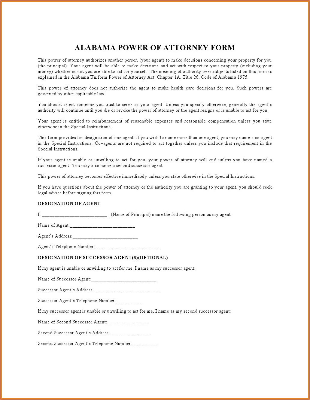 Durable Power Of Attorney Form Download