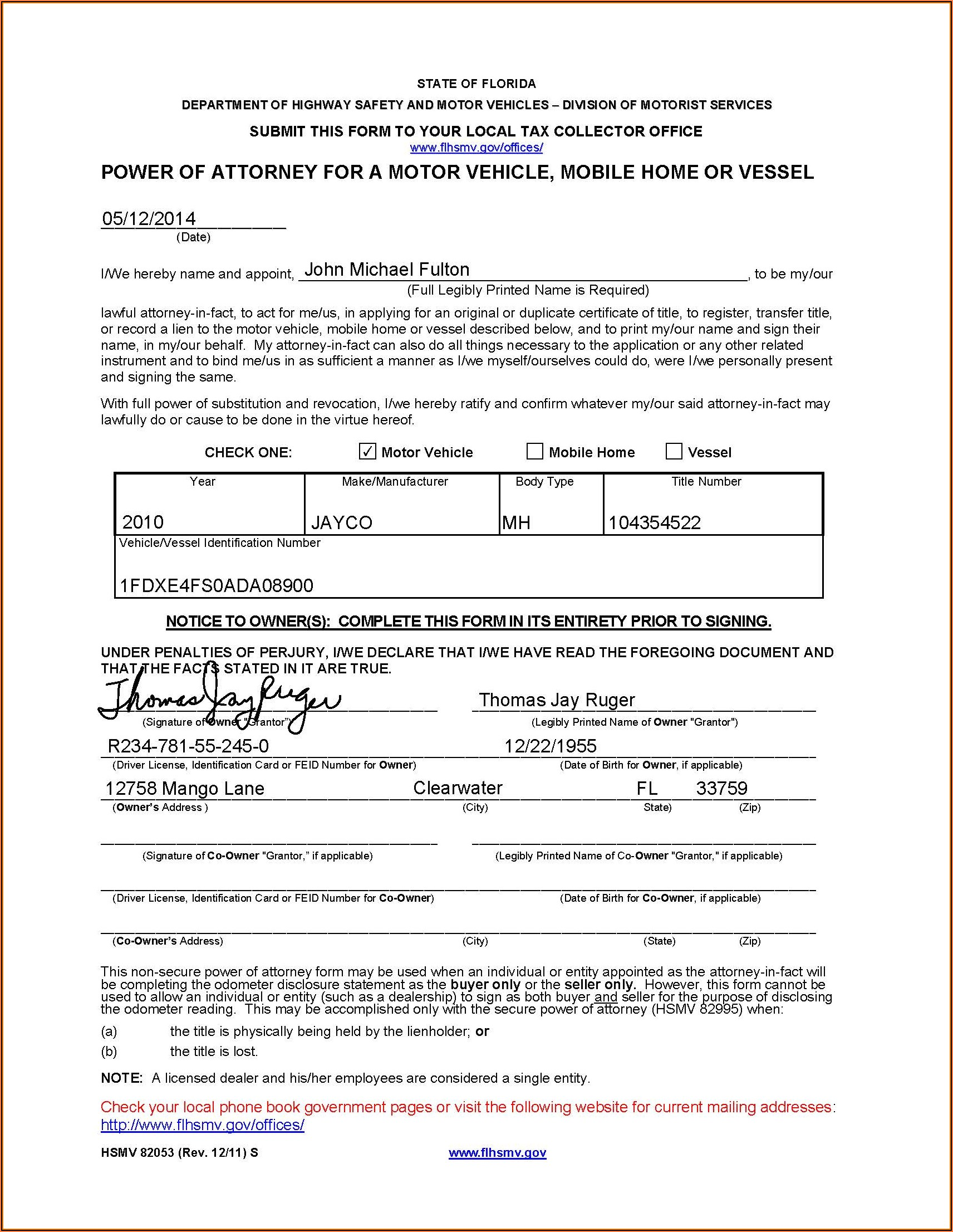 Durable Unlimited Power Of Attorney Form Florida