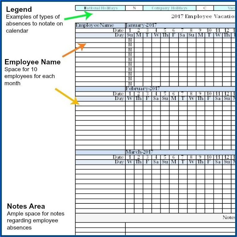 Employee Absence Tracking Excel Template 2017