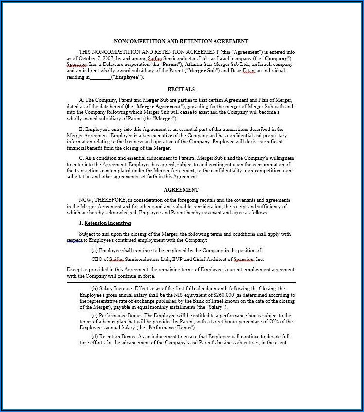 Employee Non Compete Agreement Template Free