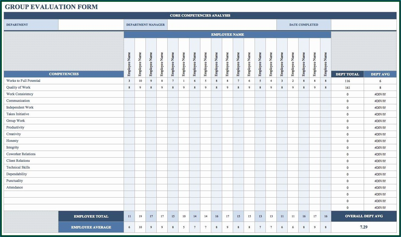 Employee Performance Scorecard Template Excel Free