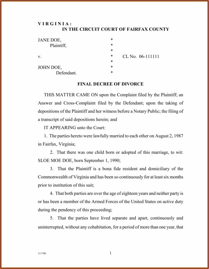 Fairfax County Divorce Filing Fee