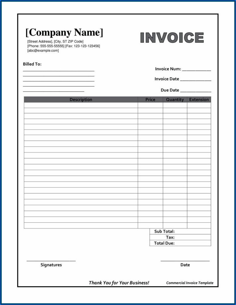 Fillable Editable Invoice Template Pdf