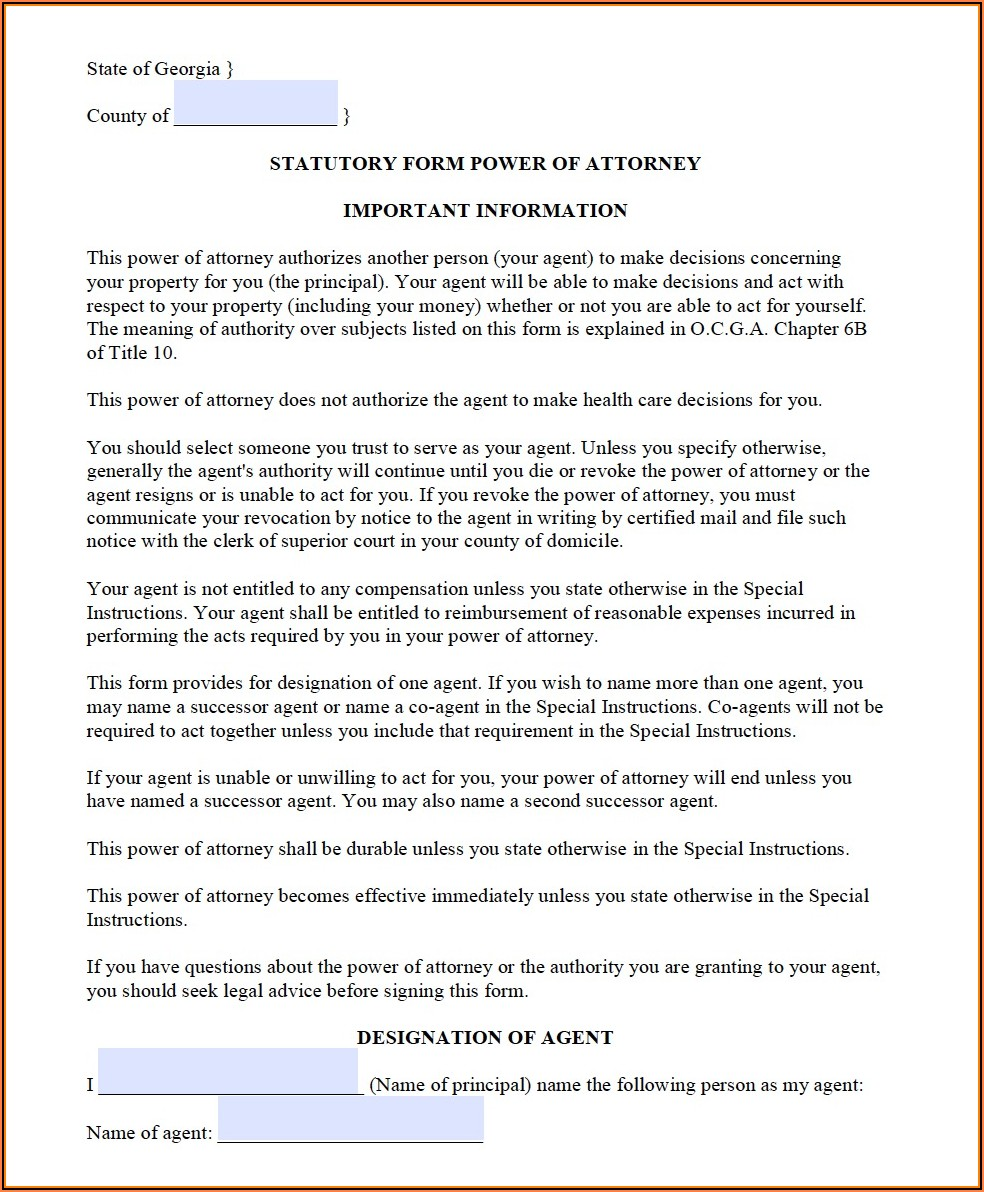 Fillable Power Of Attorney Form Georgia